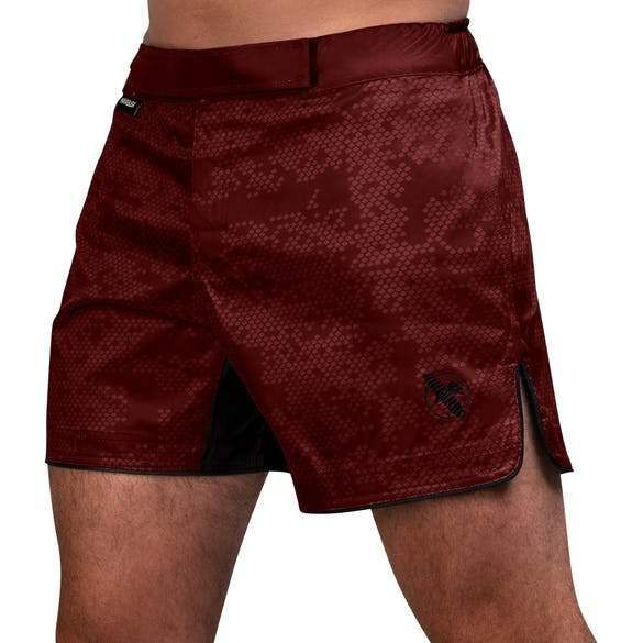 Hexagon Mid-Thigh Fight Short - Burgundy - mmafightshop.ae