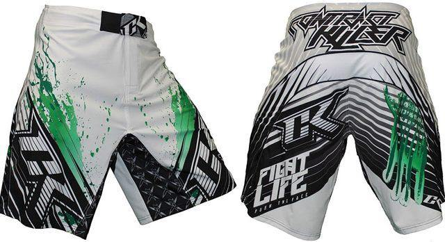 CONTRACT KILLER STAINED S2 SHORT White/Green - mmafightshop.ae