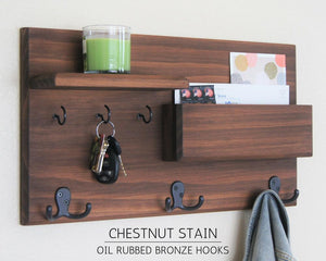 Chestnut Coat Rack with Oil Rubbed Bronze Hooks