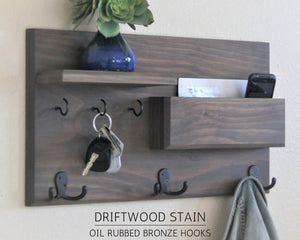 Driftwood Gray Coat Rack with Oil Rubbed Bronze Hooks