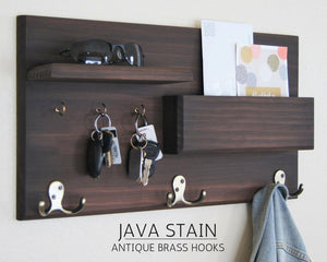 Java finished coat rack with antique brass hooks