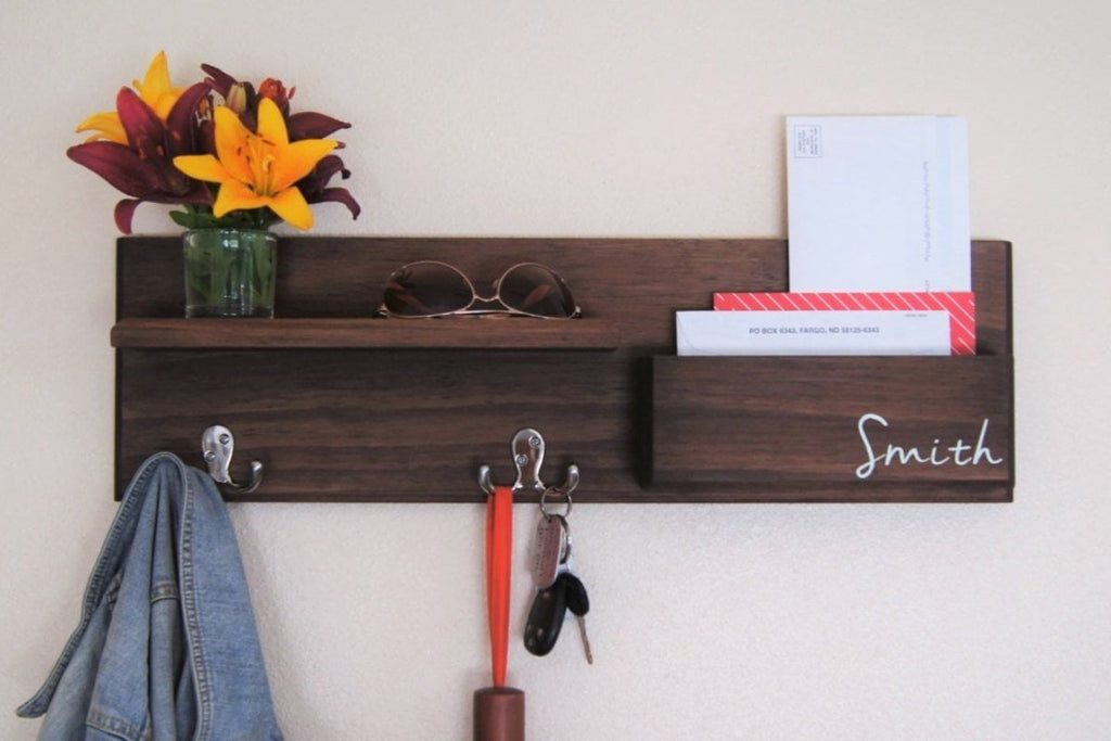 Personalized Entryway Organizer Rack Storage Key Hooks Floating Shelf