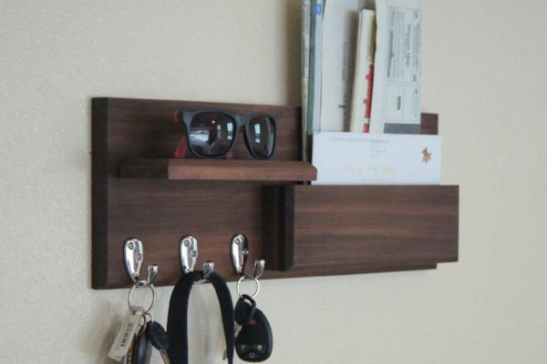 Mail Box Wall Mounted Mail Storage with Key Hooks and Storage Shelf Entryway Organizer