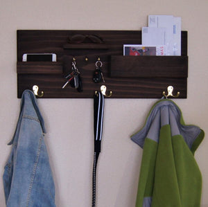 Entryway Organizer Coat Hook Rack with Storage Ledges and Mail Pocket Organizer