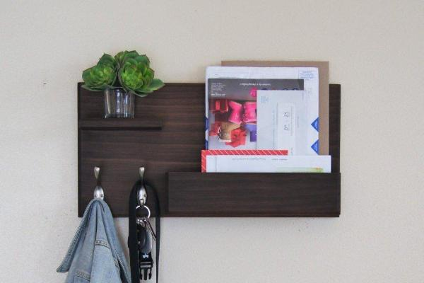 Magazine Rack with Coat Hooks Wall Mounted with Mail Storage and Floating Shelf Entryway Organizer Key Hooks