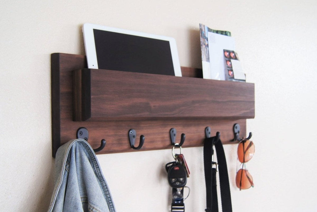 Walnut Wood Wall Mounted Oil Rubbed Bronze Coat Hooks and Key Hooks with Long Mail Pocket