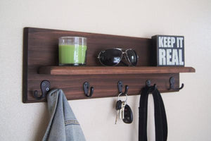 Floating Shelf with Coat and Key Hooks Handmade Solid Wood