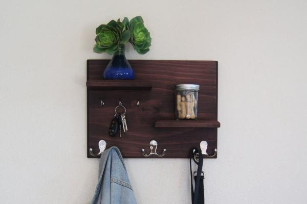 Floating Shelves with Coat and Key Hooks Hallway Wall Mounted Coat Rack