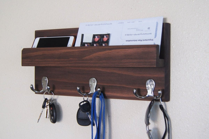 Mail Holder Key Rack on Wall Silver Hooks