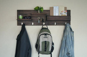 Entryway Organizer Wall Mounted Coat Rack Key Mail Backpack Floating Shelf Storage Solid Wood