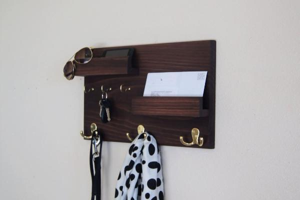 Coat Rack and Key Rack with Floating Ledge Mail Phone and Sunglasses Storage Organizer