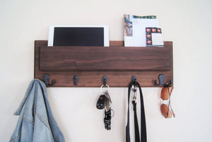 Entryway Coat Rack Dark Wood with Electronics and Tablet Storage