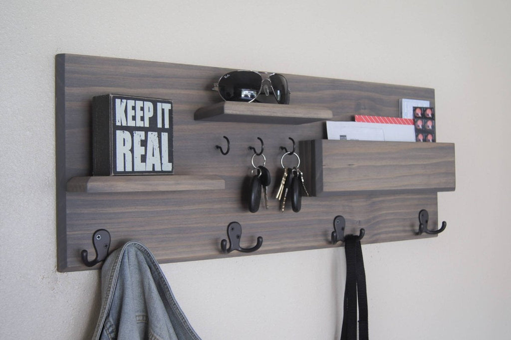 Coat Hooks Entryway Organizer Wall Shelf Key Rack Mail Storage