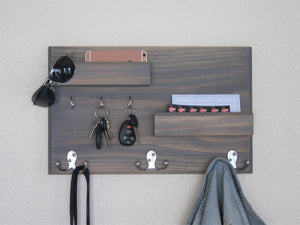 Wood Coat Rack Entryway Phone and Mail Storage - Driftwood Finish