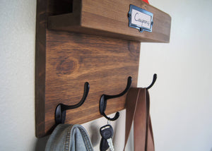 Mail Organizer Solid Wood Wall Mounted Coat Rack and Mail Sorter Key Rack Backpack Hooks
