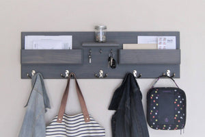 Entryway Organizer Kids Coat Rack with Mail Storage Key Rack Backpack Hooks Command Center Wall Organizer Kids Storage