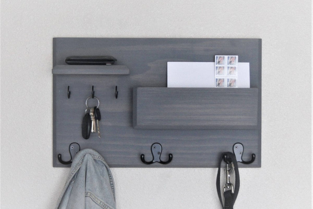 Entryway Organizer Coat Rack Mail Storage Key Hooks Floating Shelf Wall Mounted Gray Oil Rubbed Bronze