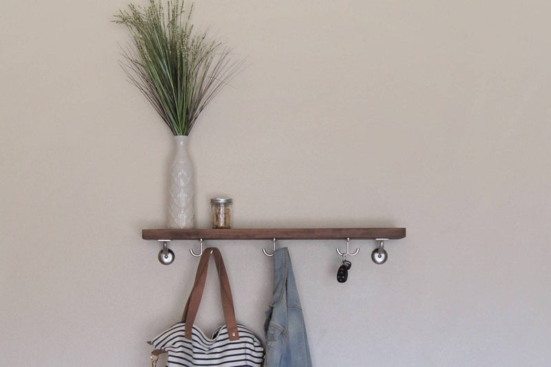 Floating Shelf Solid Wood Coat Key Hooks Storage Shelf