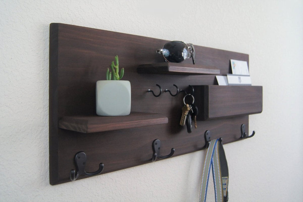 Entryway Organizer Coat Rack Mail Storage Coat Hooks and Key Rack Wall Mounted Floating Shelf with Hooks