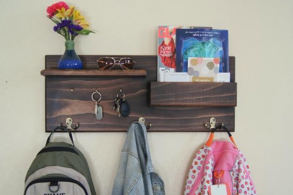 Entryway Organizer Floating Shelf Coat Hooks Key Rack Entryway Hook Organizer with Mail Storage