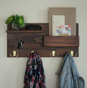 Wood Wall Rack with Mail Pocket and Brass Coat and Hat Hooks.