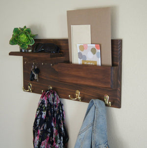 Entryway Organizer Coat Rack Wall Mount with Shelf Key Hooks and Mail Sorter
