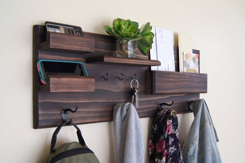 Wall Organizer Coat Hooks Dark Wood with Mail Pocket and Storage Hooks