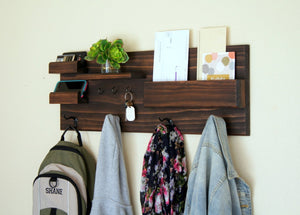 Entryway Organizer Coat Mail and Key Storage Entryway Organizer Backpack Hooks Wall Mounted