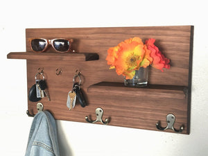 Solid Wood Wall Mounted Coat Rack with Key Hooks and Floating Shelves