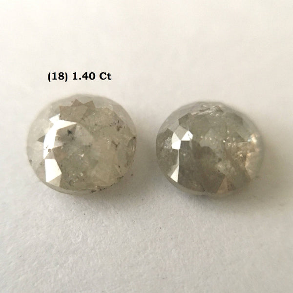 100% Natural Round Shape Rose Cut Loose Diamond, Pair of Rose Cut Translucent Loose Earth Mined Natural Diamonds AJ05/18to23