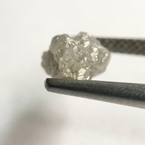 2.02 Ct Natural Uncut Rough Raw Loose Diamond Grey Color 8.31 mm x 7.20 mm, Shining Diamond Crystal Earth Mined Origin South Africa - Amba Jewel