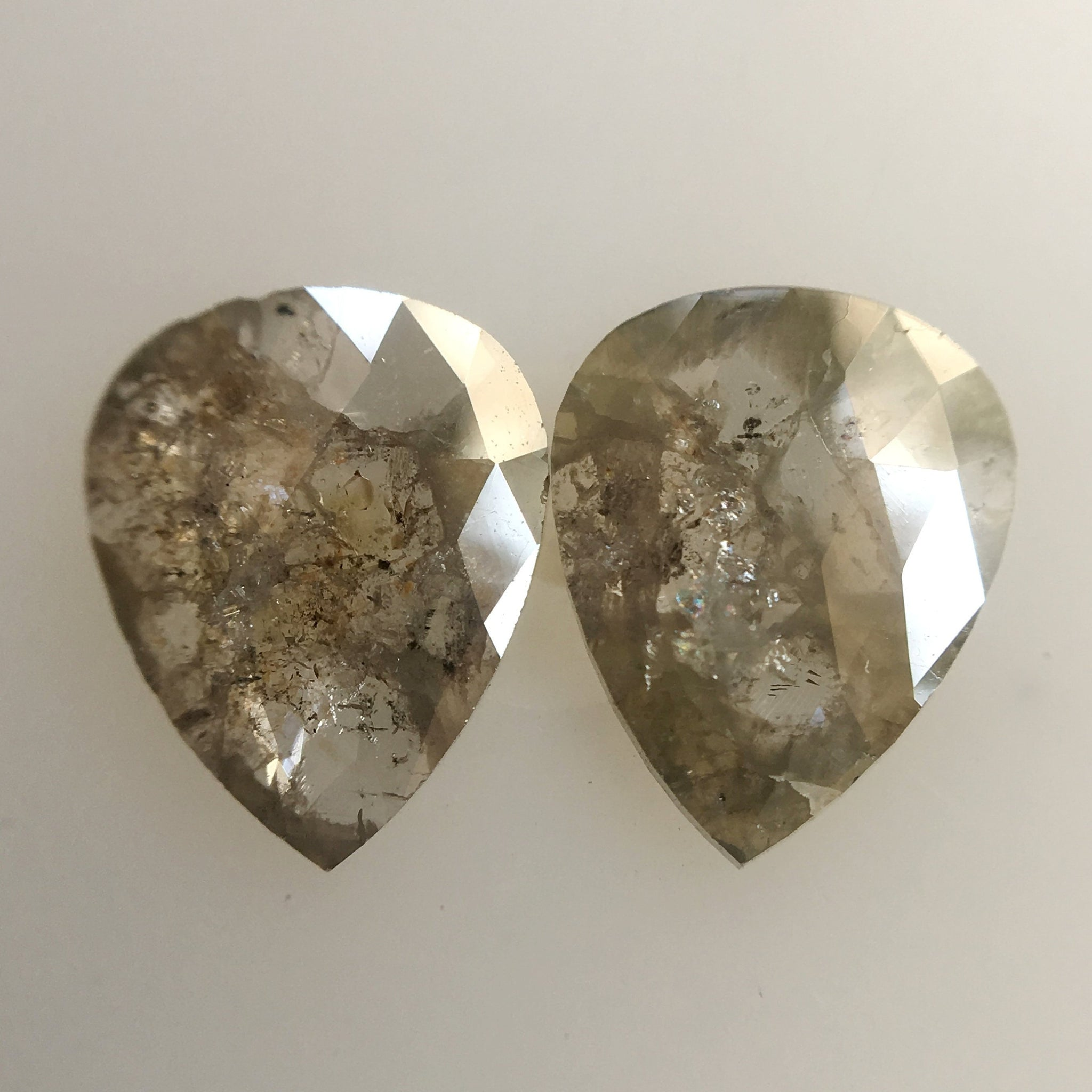 1.39 Ct Pear Shape Gray Rose cut Natural Loose Diamond, 8.20 mm X 6.50 mm X 1.30 mm Pear shape Diamond for Earrings SJ01/13 - Amba Jewel