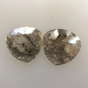 2.31 Ct pair Fancy Gray Natural Pear Shape 8.77 mm X 9.10 mm X 1.30 mm Genuine Polished Rose cut Loose Diamond best for Earrings SJ04/07 - Amba Jewel