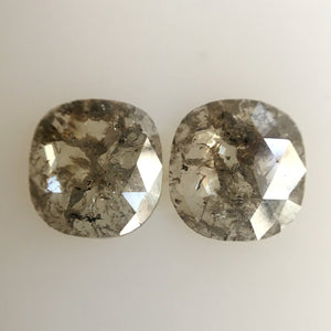 Pair 2.00 Ct Fancy Gray Natural Cushion Shape 7.60 mm X 7.20 mm X 1.70 mm Genuine Polished Rose cut Loose Diamond best for Earrings SJ04/09 - Amba Jewel