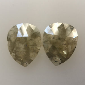 Pair 2.15 Ct Yellowish Gray Natural Pear Shape 8.65 mm X 6.75 mm X 1.80 mm Genuine Polished Rose cut Loose Diamond best for Earring SJ04/08 - Amba Jewel
