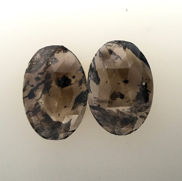 1.82 Ct Natural Brown Color Oval Shape 8.80 mm x 6.15 mm x 1.65 mm Diamond Pair, oval cut natural loose Diamond SJ33/03 - Amba Jewel