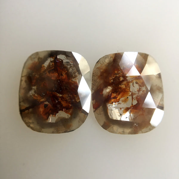 Pair 2.61 ct Natural Brownish Transparent Gray Oval Shape Rose cut Diamond 9.60 mm X 8.26 mm X 1.40 mm Beautiful sparkling faceted  SJ01/20 - Amba Jewel