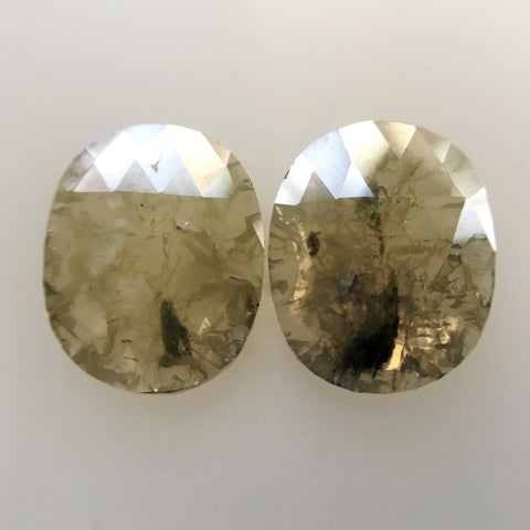 2.89 Ct Oval Shape Rose Cut Slice Natural Loose Natural Diamond Pair, 9.75 mm X 7.89 mm X 1.65 mm Yellowish Gray color Diamond SJ04/30 - Amba Jewel
