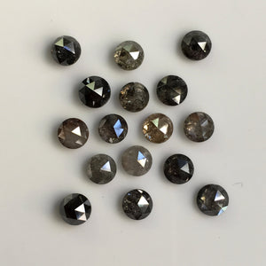7.68 Ct Round Rose Cut 16 Pcs Natural Loose Diamond Grey Color 4.60 mm to 4.75 mm, Round Shape Rose Cut Natural Diamond SJ35/57 - Amba Jewel