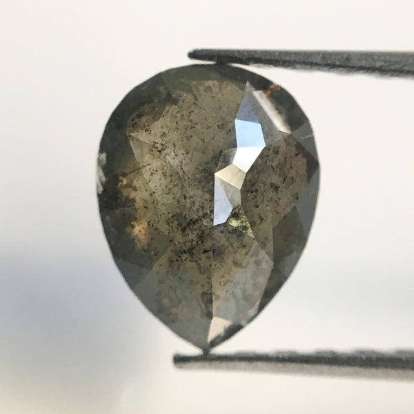 Genuine 1.23 Ct Dark Grey Color Pear Cut Loose Natural Diamond, 7.90 mm X 6.15 mm Grey  SJ18/19 - Amba Jewel