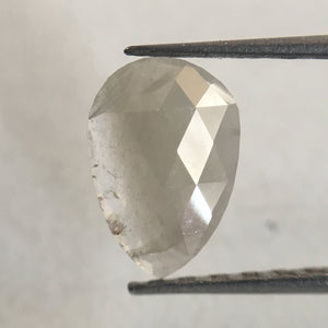 0.41 Ct Light Gray Color Pear Cut  Diamond, 7.50 mm X 5.30 mm Light Grey Rose Cut Slice Pear Natural Diamond SJ35/19 - Amba Jewel