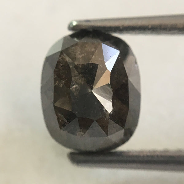 2.13 Ct Oval Cut 7.50 mm X 6.25 mm Fancy Gray Color Natural Loose Diamond, Grey Oval Shape Rose Cut Natural Faceted Loose Diamond SJ35/33 - Amba Jewel