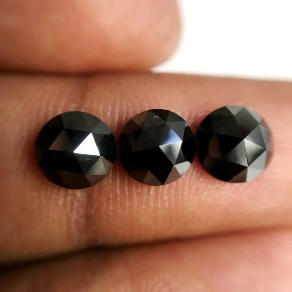 7.50 mm Heated black color rose cut natural loose diamonds, Rose cut black natural loose diamond, Round rose cut black diamond SJBLKHTD8 - Amba Jewel