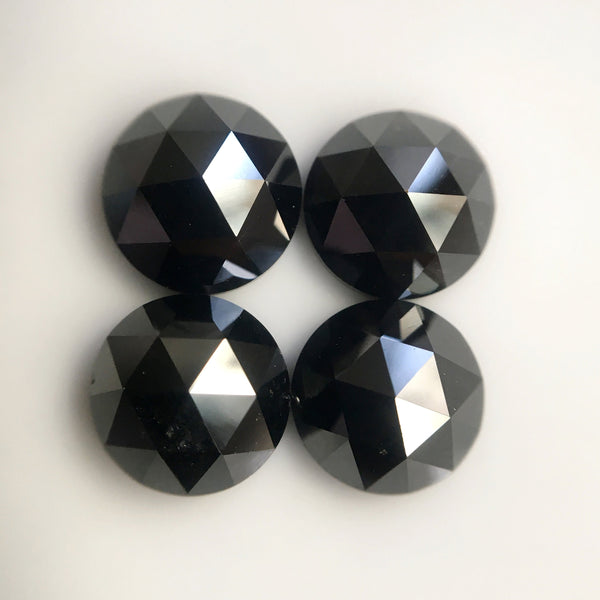 6.50 mm Heated black color rose cut natural loose diamonds, Rose cut black natural loose diamond, Round rose cut black diamond SJBLKHTD6 - Amba Jewel