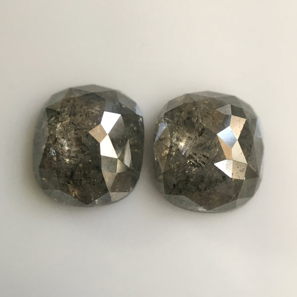 2.25 Ct Natural Dark Gray Color Oval Shape 7.00 mm x 6.10 mm x 2.90 mm Diamond Pair, oval cut natural loose Diamond SJ23/26 - Amba Jewel