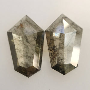 1.26 Ct Natural Shield Shape loose Diamond Pair 9.30 mm X 5.70 mm x 1.55 mm, Grey (Green Tint) Polished Loose Diamond for Earrings SJ25/05 - Amba Jewel