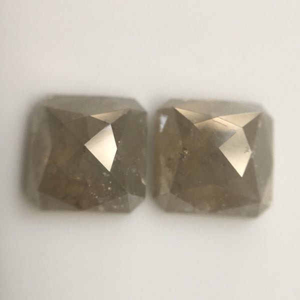 Pair 2.36 Ct Fancy Grey Color Emerald Shape 6.25 mm X 6.21 mm X 2.99 mm Natural Loose Diamond Excellent Diamond AJ03/04 - Amba Jewel
