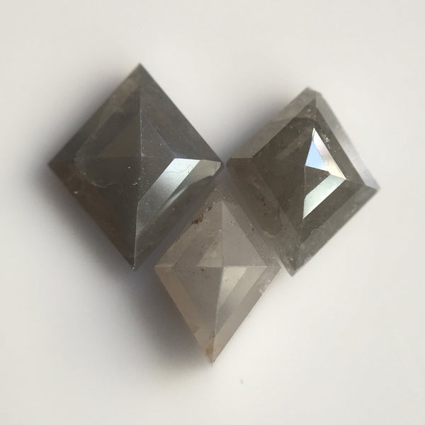 Genuine 2.41 Ct, 3 Pcs of Natural Fancy Gray Color Kite Shape Loose Diamond Beautiful sparkling faceted perfect for Jewelry AJ03/30 - Amba Jewel