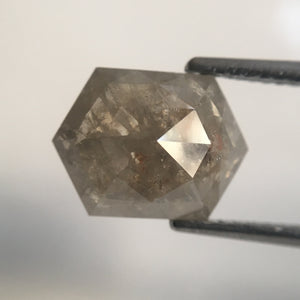 3.47 Ct Hexagon shape Natural Diamond 11.30 mm X 8.50 mm Fancy Grey Transparent Color  making SJ12/53 - Amba Jewel
