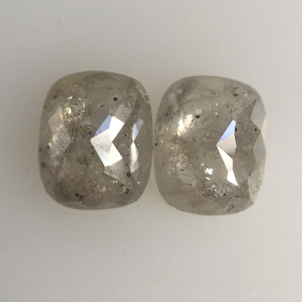 1.98 Ct Oval Shape Rose cut Grey color Natural Loose Diamond Pair, 6.94 mm x 5.59 mm x 2.76 mm Oval Shape Natural Loose Diamond AJ11/14 - Amba Jewel